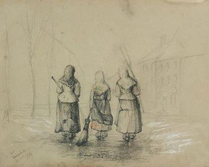 École du XIXe siècle Les balayeuses Crayon...