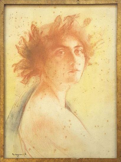 Pascal Adolphe Jean DAGNAN-BOUVERET (1852-1929) Portrait de commédienne Sanguine...