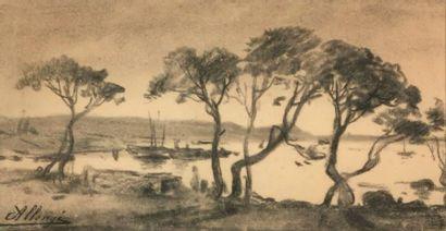 Auguste ALLONGÉ (1833-1898) Rade méditérannéenne...