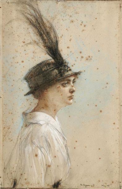 Pascal Adolphe Jean DAGNAN-BOUVERET (1852-1929) Femme au chapeau Pastel et crayon...