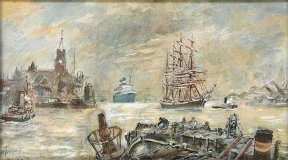M. TOUSAINT (École du XXe siècle) Le port...