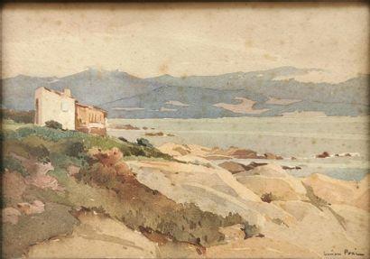Lucien PERI (1880-1948) Bord de mer en Corse...
