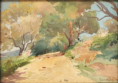 Lucien PERI (1880-1948) Chemin corse arboré...