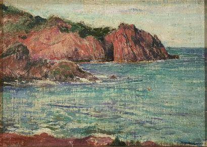 Pascal Adolphe Jean DAGNAN-BOUVERET (1852-1929) Bord de mer breton Huile sur carton...