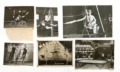 Lot de dix photographies tirage argentique d'époque dont certaines du cirque d'hiver...