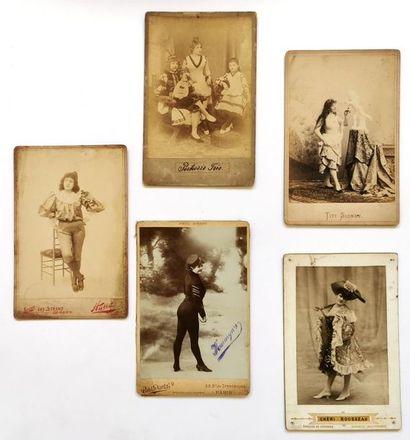 Cinq photos cabinet époque fin XIXe début XXe siècle Artistes cirque et spectacle...