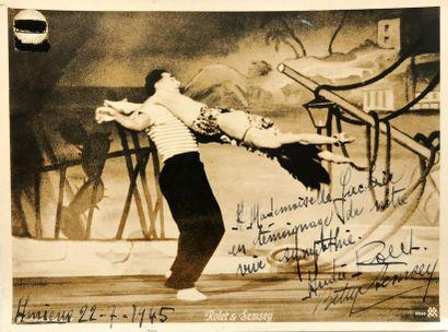 Photographie tirage argentique d'époque dédicacée par André Rolet et Betty Semsey...