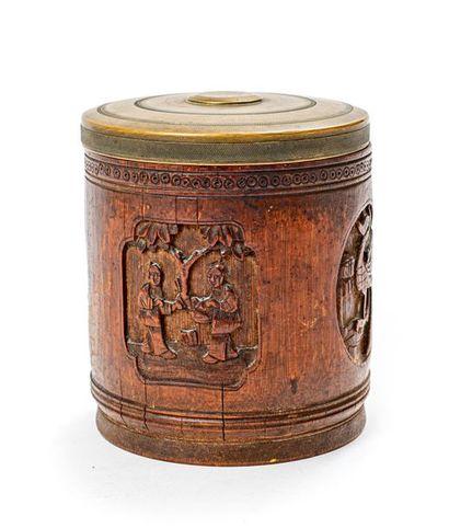 Pot à pinceaux en bambou sculpté Chine, XIXe...