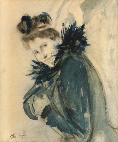 Louis CHERVIN (1905-1969)  Élégante au manteau...