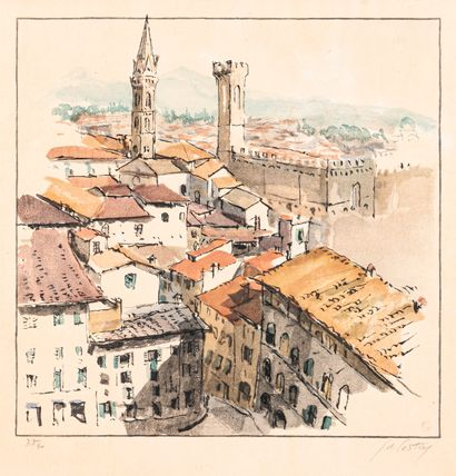 COSTEY (École du XXe siècle)  Vue de Florence...