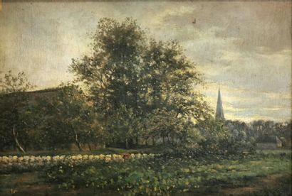 École du XIXe siècle  Le verger  Huile sur...