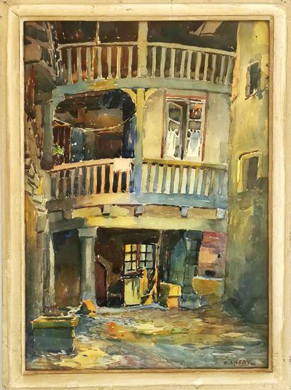Octave LAFAY (1878-1937)  Ruelle  Aquarelle...