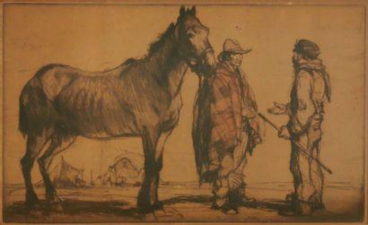 COUZENS (École du XXe siècle)  Roms au cheval...