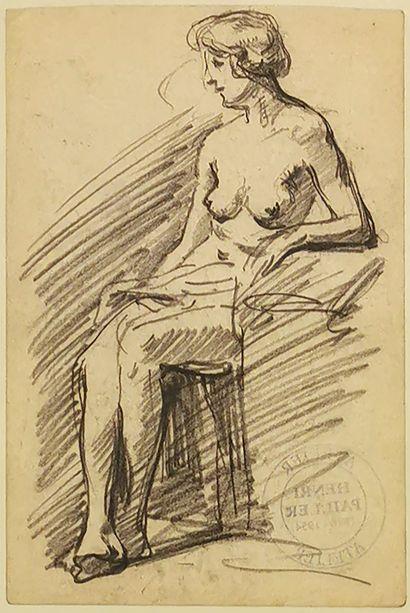 Henri PAILLET (1876-1954)  Nu féminin assis...