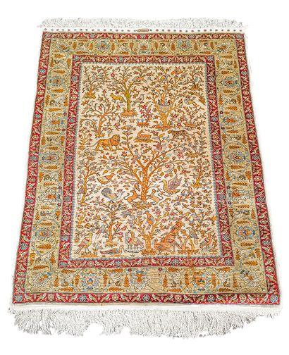 Fin tapis Hereke en soie signé – Turquie,...