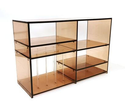 Smoked plexiglass stereo cabinet with five...