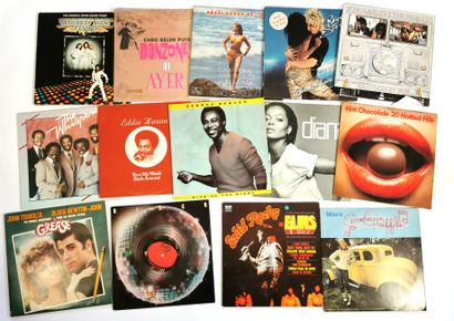 Set of fifteen 33T vinyl records with various...