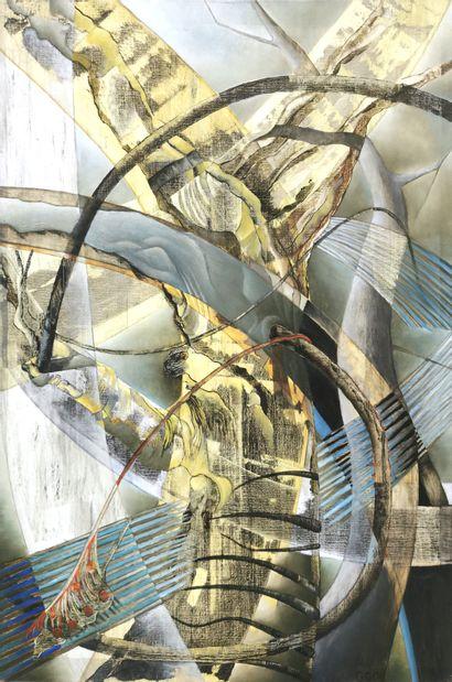 Guillaine QUERRIEN (née en 1959)  Arbre à la plume de paon, 2006  Technique mixte...
