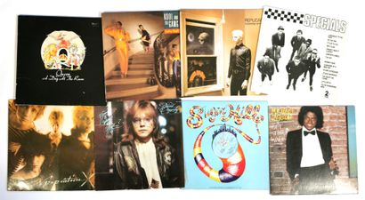 Set of eight 33T rock vinyl records including...