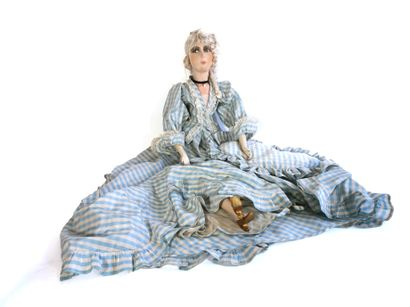 Large cloth and painted rag doll with wooden...