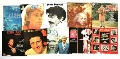 Set of ten 33T vinyl records of French songs...