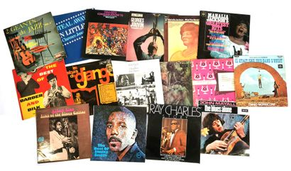 Set of sixteen 33T Jazz and Blues vinyl records...