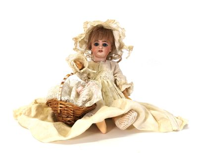 *Doll with bisque head with open mouth marked...