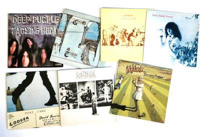 Set of seven 33T rock vinyl records including...