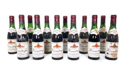 12 1/2 bouteilles Chapoutier 1981, Hermitage...