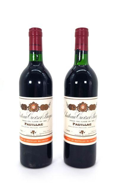 2 Bouteilles Château Croizet-Bages1986,...