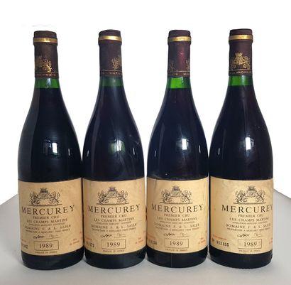 4 bouteilles Mercurey 1er cru Les Champ Martins,...
