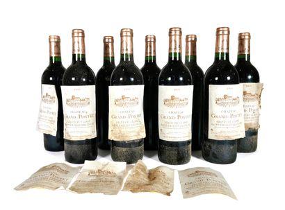 9 Bouteilles Château Grand-Pontet 1995,...
