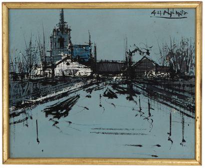 Gérard H. NYLAND (1907- ?)  Village  Huile...