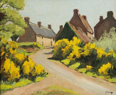 Gustave HERVIGO (1896-1993)  Les chaumières...