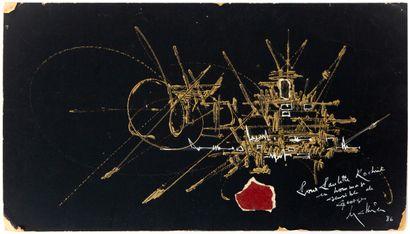 Georges MATHIEU (1921-2012)  Composition abstraite, 1986  Technique mixte sur papier...