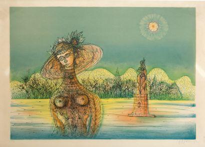 Jean CARZOU (1907-2000)  Femme à la sculpture...