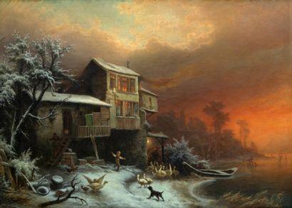 Carl PORTMANN (1837-1894)  Garçon aux oies...