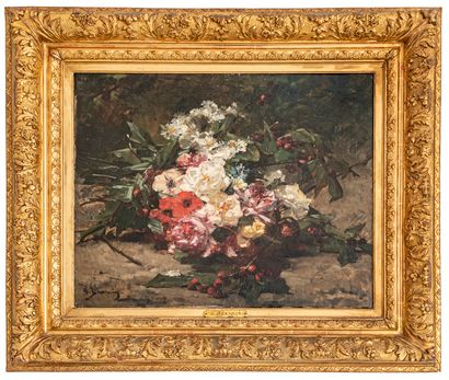 Georges JEANNIN (1841-1925)  Bouquet de fleur...