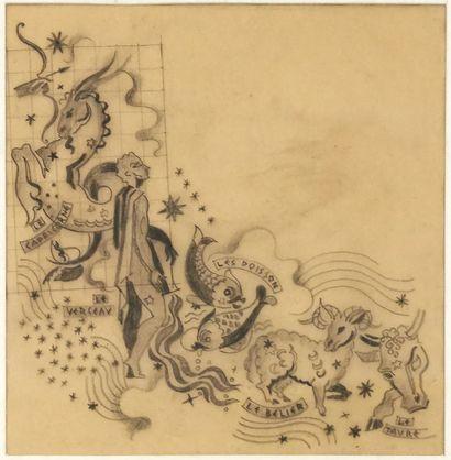 Pierre LARDIN (1902-1982)  Projet d'une fresque...
