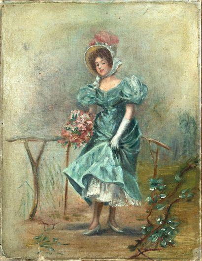 École française vers 1900  Élégante au bouquet...