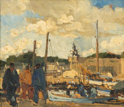 Robert YAN (1901-1994)  Port breton  Huile...