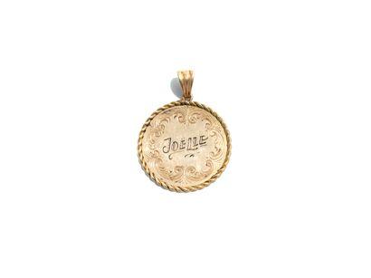 Pendentif médaille en or jaune 18K (750 millièmes)...
