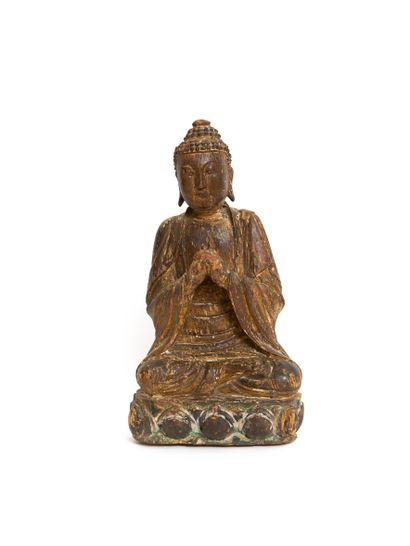 Chine, dynastie Ming  Statuette en bouddha...