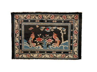 Original tapis Chine Bao Tao, fin XIXe début...