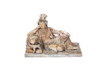 Chine, XIXe siècle  Figure de Guanyin en...