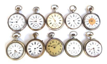 Dix montres de gousset en métal argenté,...