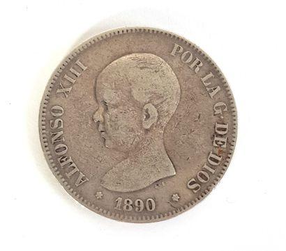 Pièce en argent espagnole Alfonso XIII, 1890,...