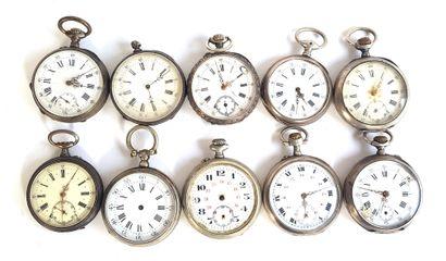 Dix montres de gousset en métal argenté  Diam....