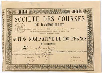 Société des courses de Rambouillet  Action...