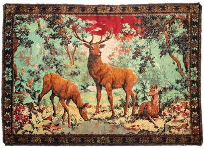 Cervidés, tapisserie en laine  117 x 164...